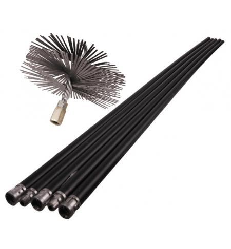 Souprava (tyče 7m + ocelový kartáč) k čištění komínů 150mm