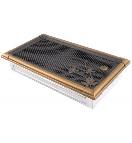 Krbová mřížka 16x32cm s žaluzií RETRO zlatá patina