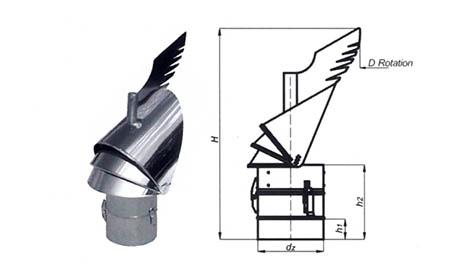 Komínová hlavice K30 s redukcí do komína,průměr 150 mm