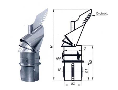 Komínová hlavice K30 s redukcí do keramického komína,průměr 200 mm