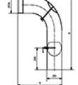 Koleno 90° tažené s prodloužením, klapkou a čisticím otvorem průměr 120 mm